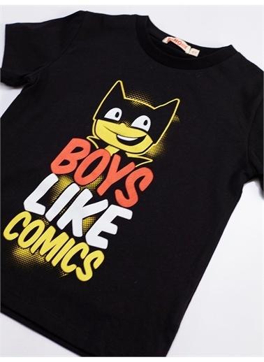 Denokids Çizgi Roman Erkek Çocuk Tshirt-Şort Takım Renkli
